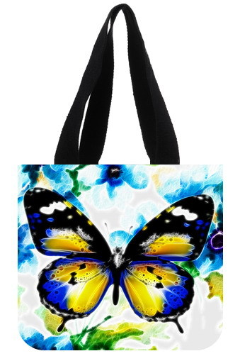 2014 Hot selling A large blue butterfly markings customized low price promotion Tote Bag unique design Top quality handle bag(China (Mainland))