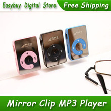 100pcs/lot New Style High Quality Mini Mirror Clip Card Reader MP3 Music Players Support Micro SD/TF Card 6 Colors