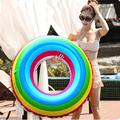 2017 New Adult Rainbow Inflatable Swimming Float Tube Ring Raft Pool Float Swim Ring Summer Water