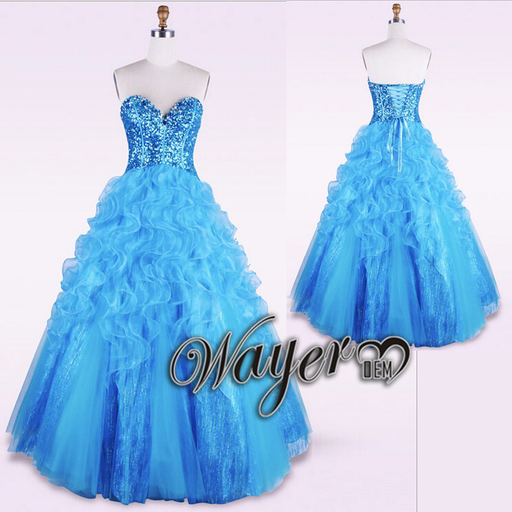 Fashion Blue Ball Gown Prom Dresses Real Sequined Ruffles Skirt Long Dress Robe De Soiree Vestidos Para Formatura 2015 - Wayer Wedding & Event Co.,Ltd store