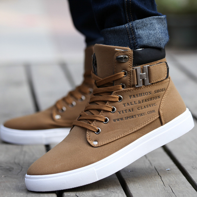 Men Casual Canvas Shoes Fashion High Top Leather Flats