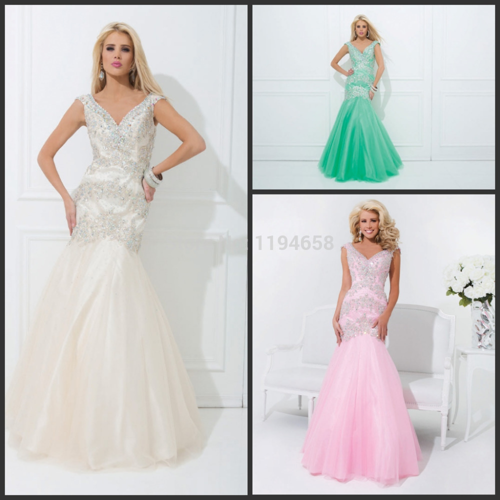 2014 Latest Design Sexy Formal Modern Fashion Hot Elegant Sweetheart Mermaid Pink Green Beige Ivory Crystals Prom Party Dress(China (Mainland))
