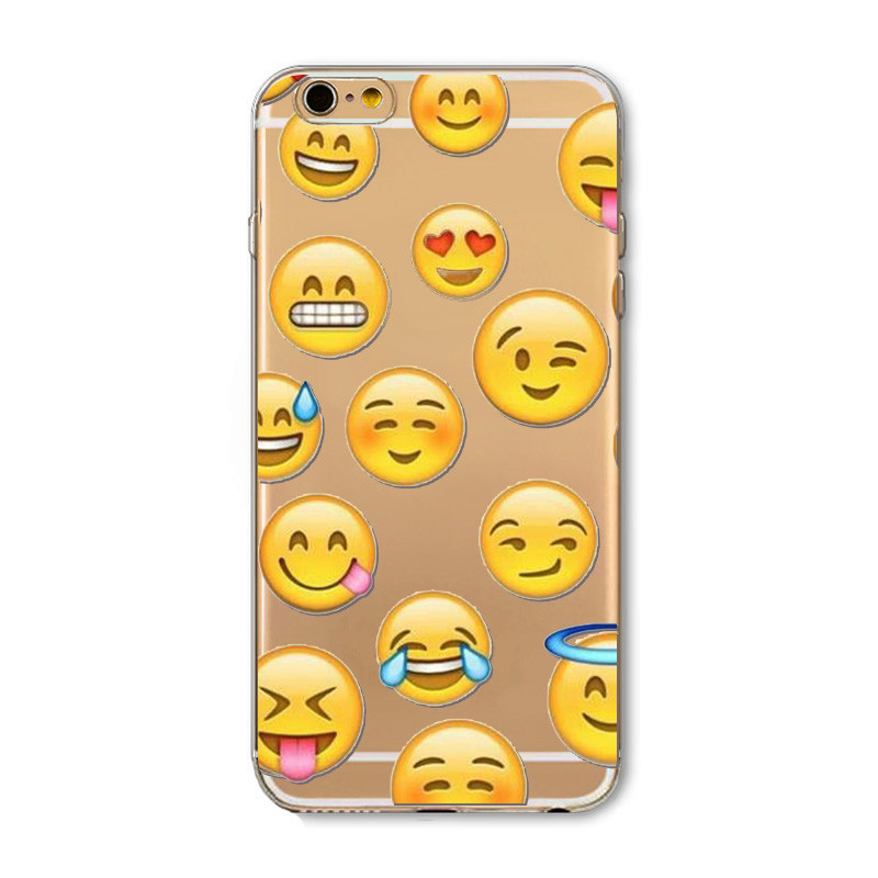 Fashion Lovely Funny Emoji Case For iphone 5 5S SE 6 6S 6Plus 6splus Tranparent Clear Soft TPU Silicone Cell Phone Cases Cover