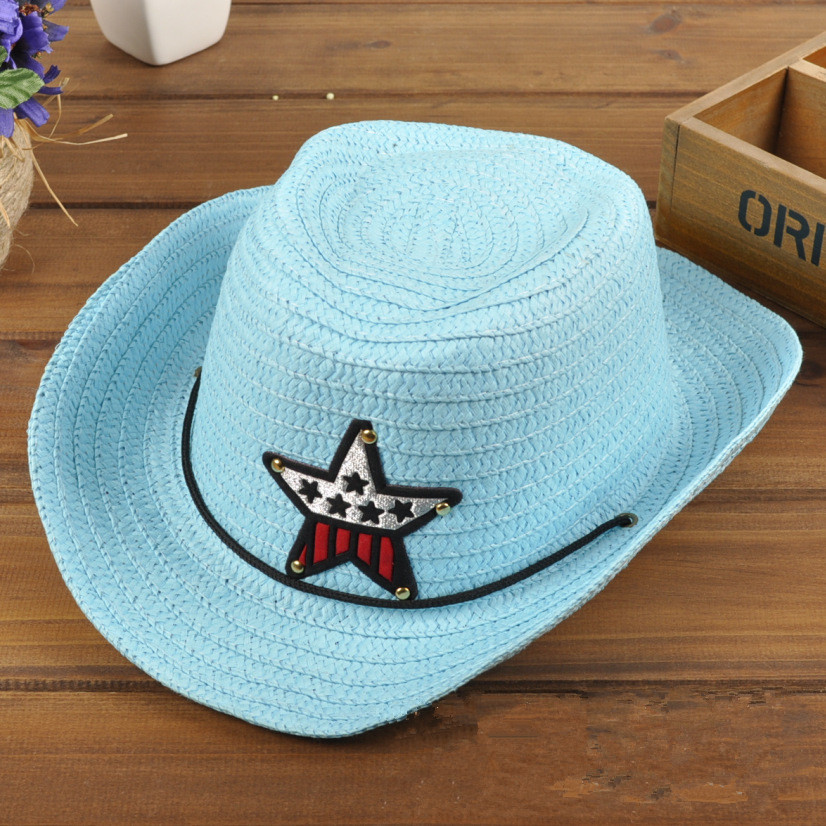 2015 new summer straw cowboy hat for children Cool Fashion Baby Hat Baby Cap Kid Hat Mixing Style Hot Sale Jazz Cap For Boy Girl(China (Mainland))