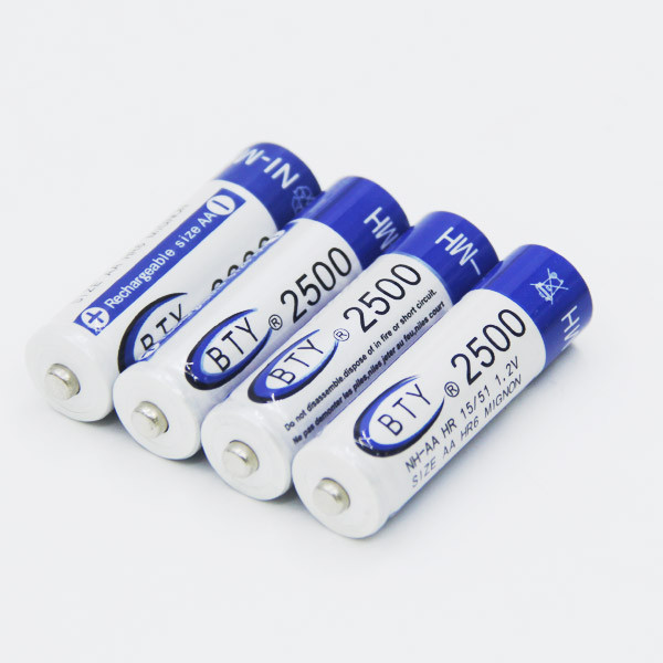 2015 High Quanlity Rechargeable Battery AA 2500mAh 4 X BTY NI-MH 1.2V Rechargeable 2A Battery Baterias Bateria Batteries(China (Mainland))