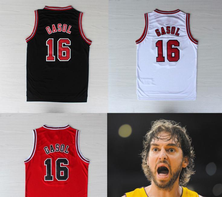 summer style 2014 New Pau Gasol Basketball Jersey Basketball Shirts Gasol Chicago Number #16 Basketball Jersey(China (Mainland))