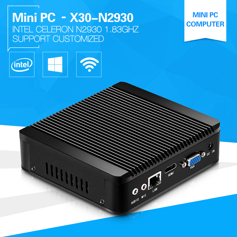 XCY Fanless Computer Celeron N2930 1.83GHz Quad-Core Easy Administration Linux Windows Mini PC Broadwell DDR Memory SSD USB 3.0(China (Mainland))