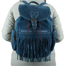 Vintage Women Tassel Backpack Shoulder Bag Drawstring Suede Leather Schoolbag New Arrival(China (Mainland))