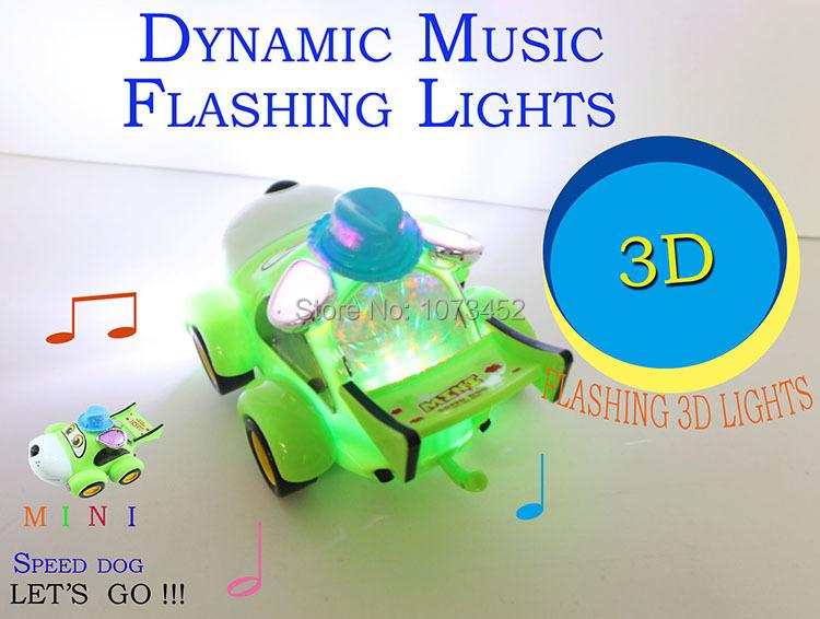MIni cartoon car Dynamic music $ 3D flashing lights battery operated car toys(China (Mainland))