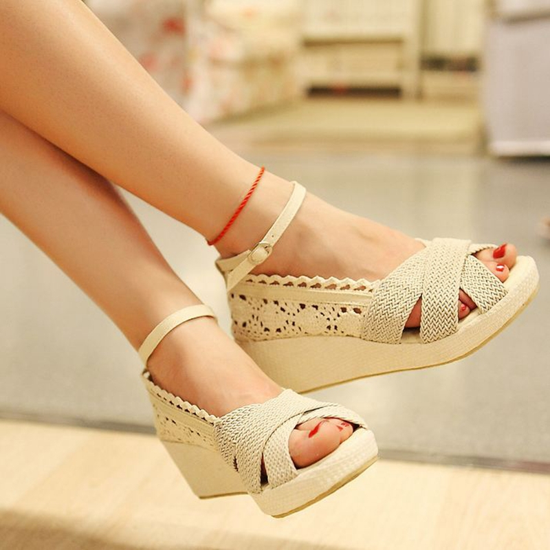 Lace Women Sandals Sweet Ladies with Ruffles and ankle buckle Strap Wedge shoes Summer Black Beige Wedges Knot Fashion sweet Hot(China (Mainland))