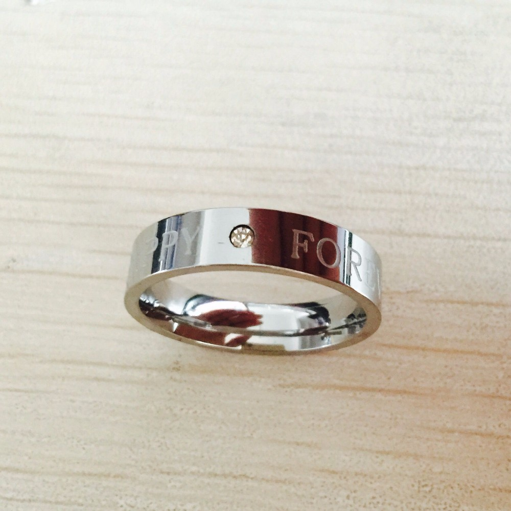 Stainless Steel IP with Heartbeat Laser Etched Band Ring women men(China (Mainland))