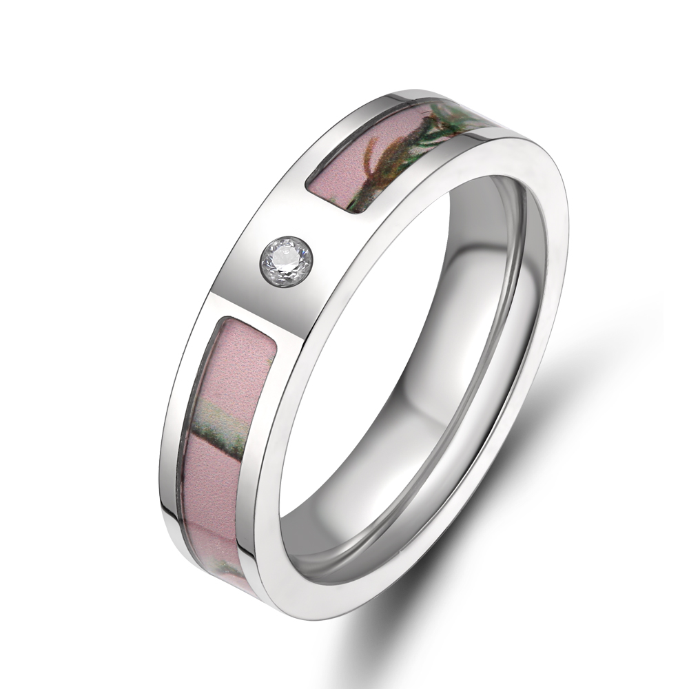5mm 100% Pure Titanium Women's Pink Real Forest Tree Camo Wedding Ring with Small CZ Stone Size 5-9(China (Mainland))
