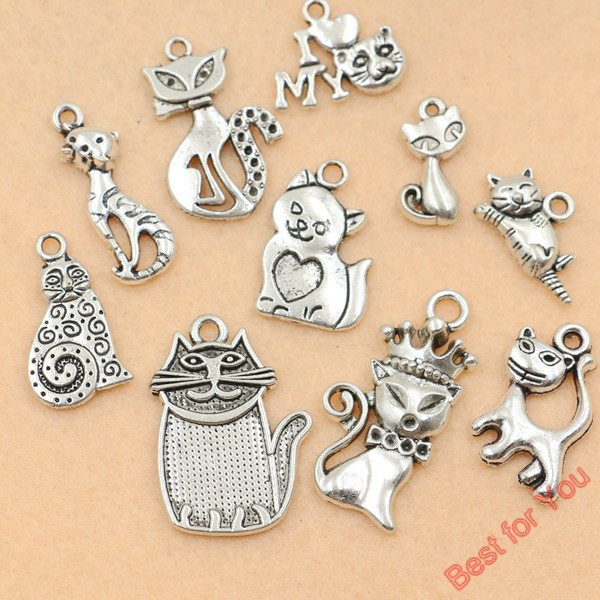 10pcs Mixed Tibetan Silver Plated Animals I Love My Cat Charms Pendants Jewelry Making Diy Charm