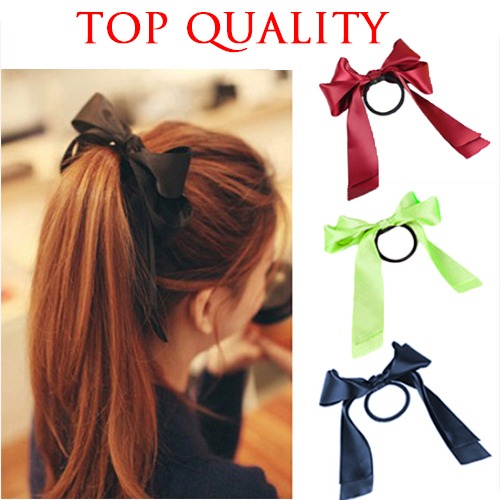 2015 Popular Handmade Satin Ribbon Elastic Hair Bands Headbands Scrunchy Gum with Bow Flower for Girl Women Accessories(China (Mainland))