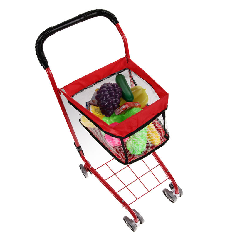 23'Iron Trolleys Simulation Shopping Cart Toy Children Kids Play Supermarket Trolley Fruit Baby Kid Furniture Toys Gifts FCI#(China (Mainland))