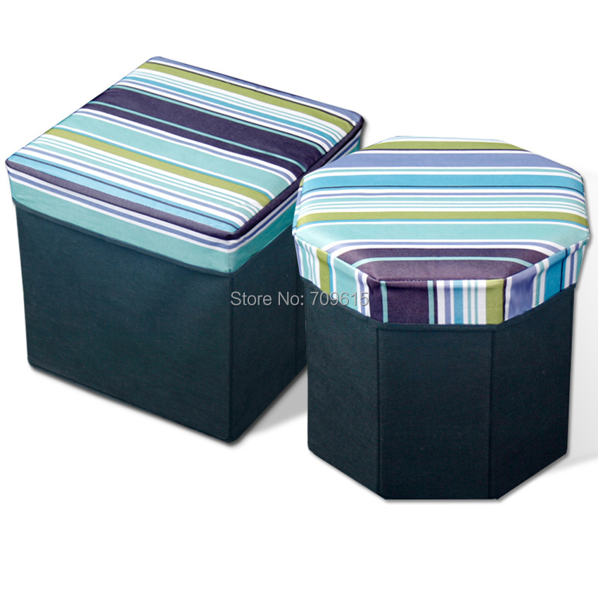 Oxford cloth printing stool Folding Storage Stool Storage box Octagonal(China (Mainland))