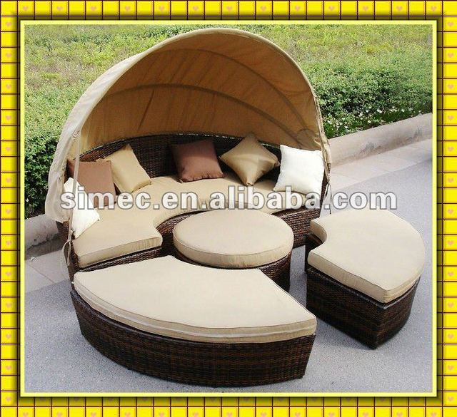 outdoor rattan daybed with canopy SCRB-016