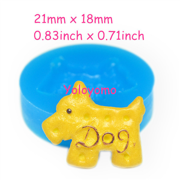 Free shipping Q287YL Cute Dog Silicone Mold Fondant Cake Decoration Icing Candy Resin Soap Wax Fimo Clay Tallow Push Molds 21mm(China (Mainland))