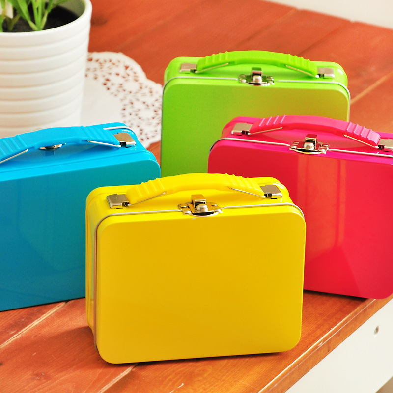 Wholesale Fashion Candy Color Tinplate Tin Hand Storage Box with Lock Suitcase Metal Box Free Shipping(China (Mainland))