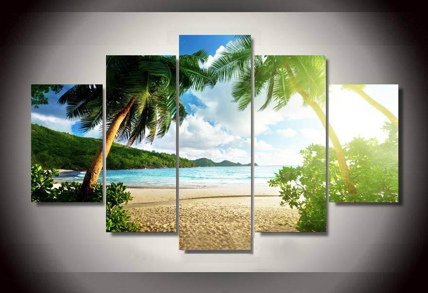 Wall Art Beach Palm Tree Group Painting children's room decor print poster picture canvas Painting Unframed 5 Pieces/Set(China (Mainland))