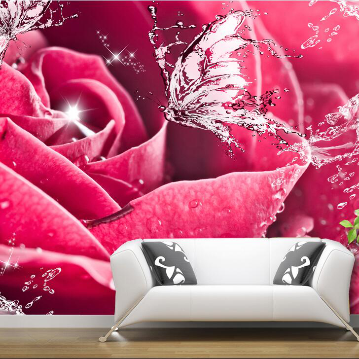 Custom photo Silk 3D wallpaper for walls 3 D living bed room hotel motel shop TV background wall covering rose mural wallpaper(China (Mainland))