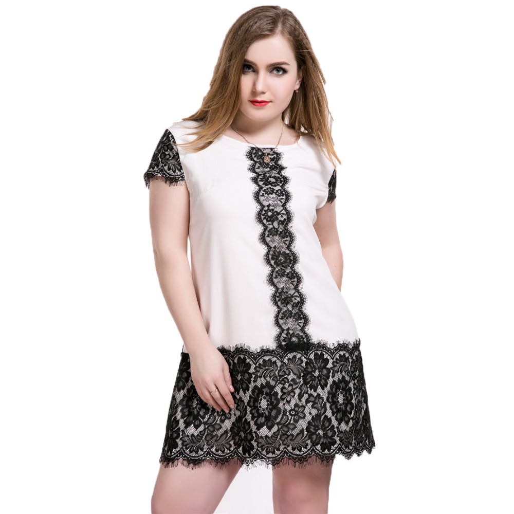 Plus Size Lace Dresses for Women Summer Vestidos Casual Loose Dresses Short Sleeve O Neck Pink and Black Patchwork Women Dress(China (Mainland))