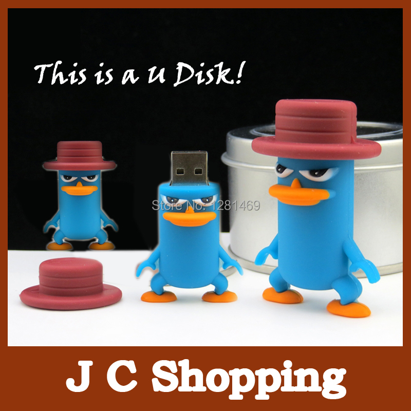 usb flash drive pendrive funny lovely Perry the platypus shape flash memory 2.0 Pen memory U disk 2G 4G 8G 16G 32G Freeshipping(China (Mainland))