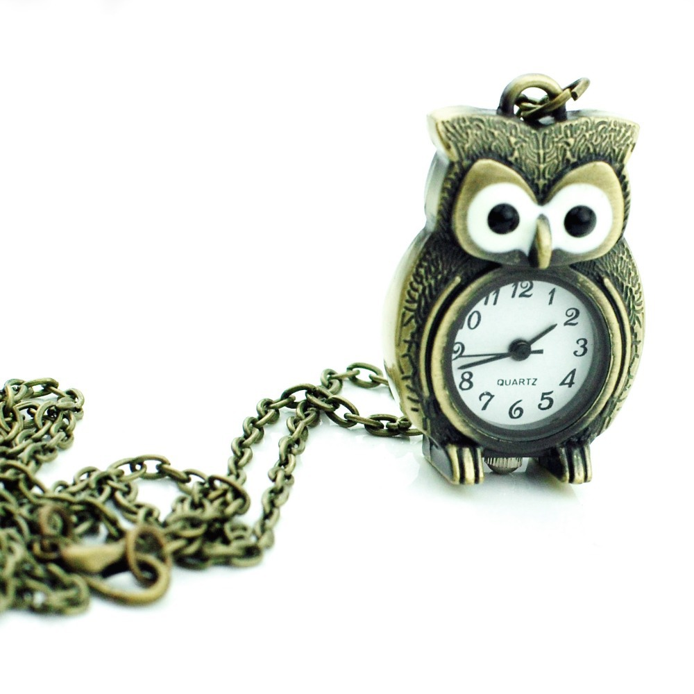 2016 Women Bronze Pocket Watches Vintage Owl Pendant Necklace Pocket Watch Women Quartz Watch WHAC121(China (Mainland))