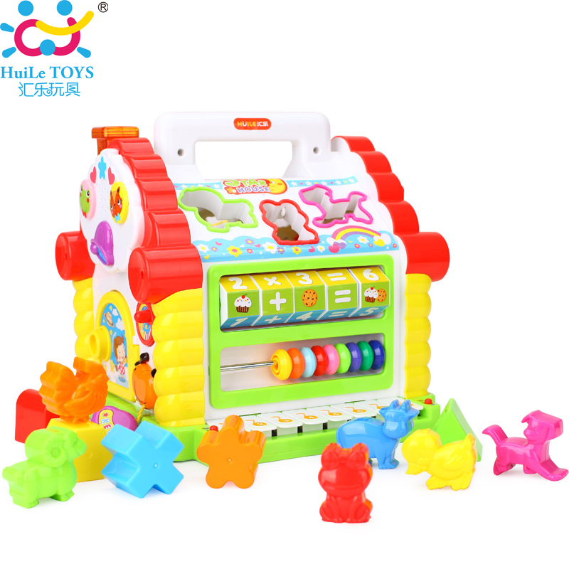 Multifunctional Musical Toys Colorful Baby Fun House Musical Electronic Geometric Blocks Sorting Learning Educational Toys Gifts(China (Mainland))