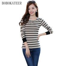 Buy BOBOKATEER Long sleeve t shirt women tops tee shirt femme striped tshirt casual clothes women t-shirts 2017 poleras de mujer for $9.40 in AliExpress store