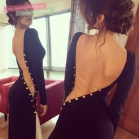 Fashion Sexy Women's Black Backless Outfit Bodycon Club Party Prom Wedding Dress