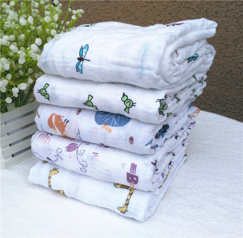 infant Muslin Cotton Soft Newborn Baby Bath Towel summer Swaddling Blankets Multi Designs Functions Baby bedding Wrap swaddle(China (Mainland))