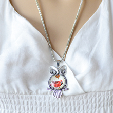 fashion Owl pendant necklace newest glass cabochon necklace in jewelry vintage silver color statement chain necklace
