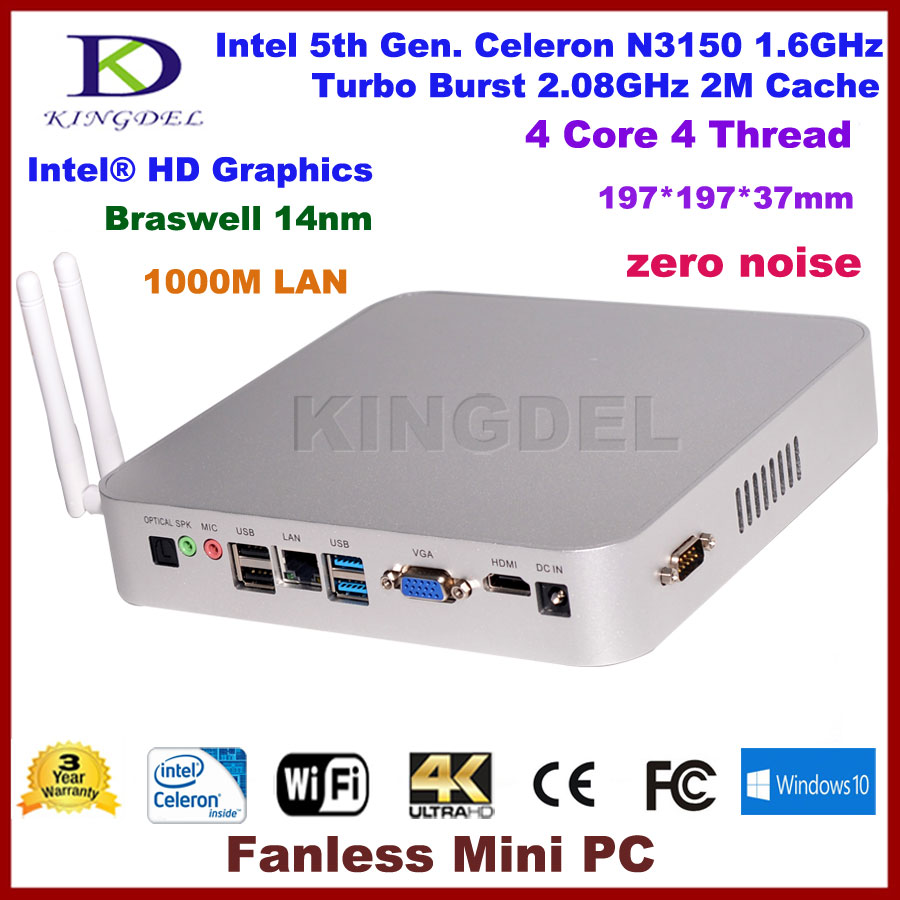 Kingdel Braswell 5th Gen 14NM N3150 Quad Core Fanless Mini Computer with VGA, RS232 and 300M WIFI, Home PC, Business Computer(Hong Kong)