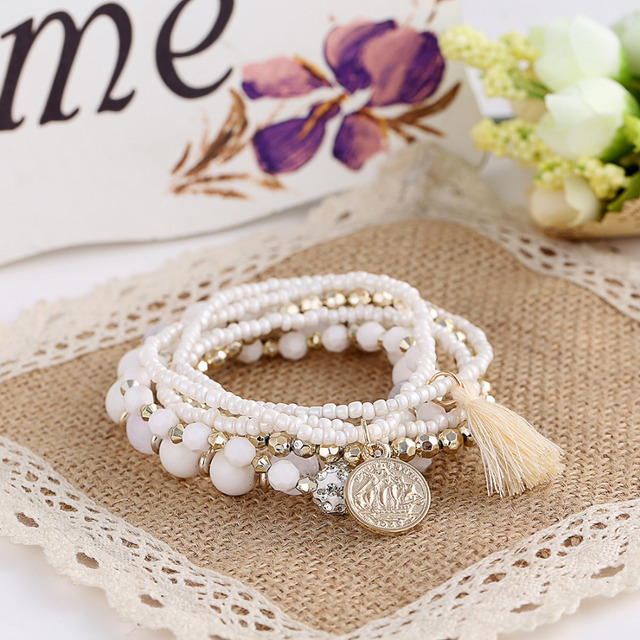 Роскошные многослойные браслет мода акриловые сплава бусины монета кисточкой старинные ...