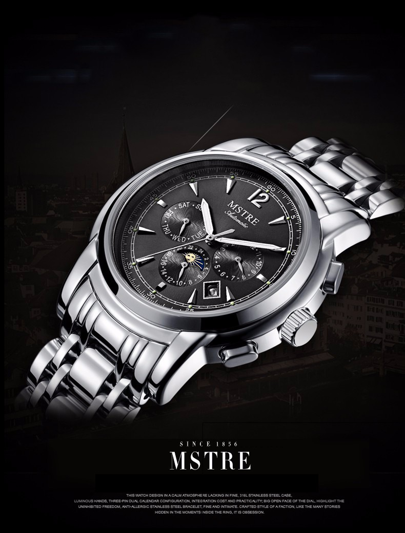 Бренд Моды Классический Бизнес Случайный Часы мужские Полный Автоматический Наручные Часы Сапфир Moon phase Маховик Водонепроницаемый 100 М