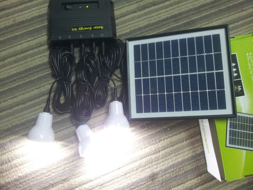 4W home solar light system, indoor solar light set, solar power 3pcs LED bulb+4W solar panel+4000mAH Battery+5m cable Waterproof(China (Mainland))