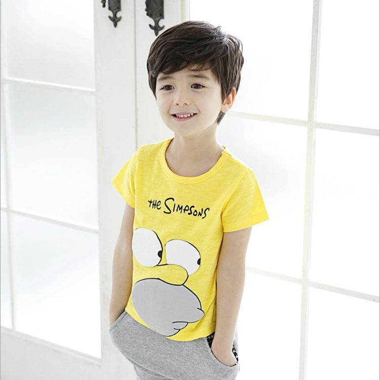 childrens clothing 2015 summer kid's short sleeve cotton t-shirts clothes for boys fashion character print designed softwear(China (Mainland))