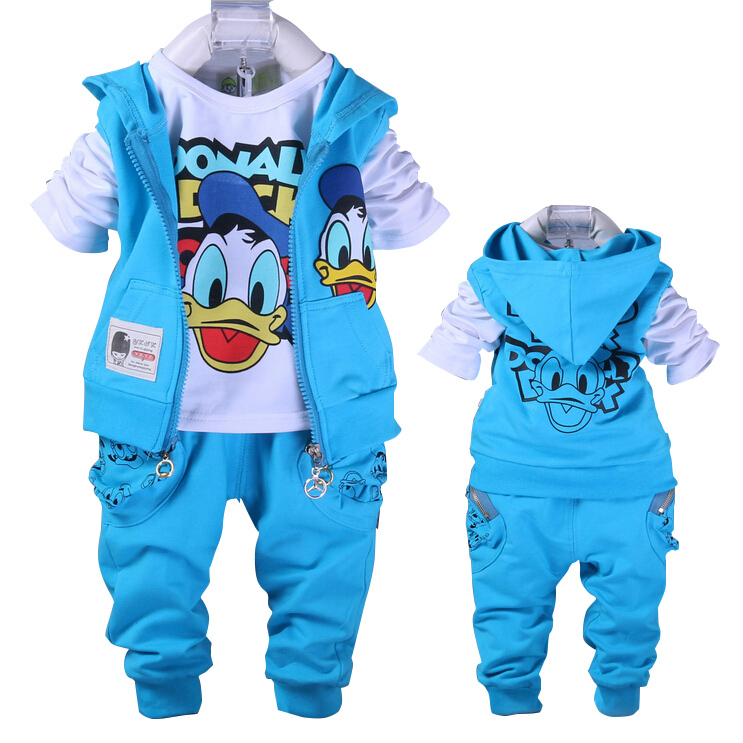 Free shipping baby Donald Duck Baby clothing boys and girl Set sport Suit 3Pcs vest+T-Shirt+Pants baby Summer Sets baby clothing(China (Mainland))