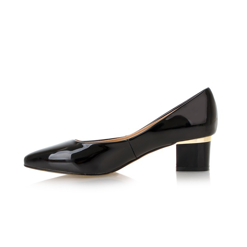 Simple Thick low heel for women Sexy Fashion Pointed toe Office shoes Black Apricot Woman Pumps Patent leather Big size US 9.5(China (Mainland))
