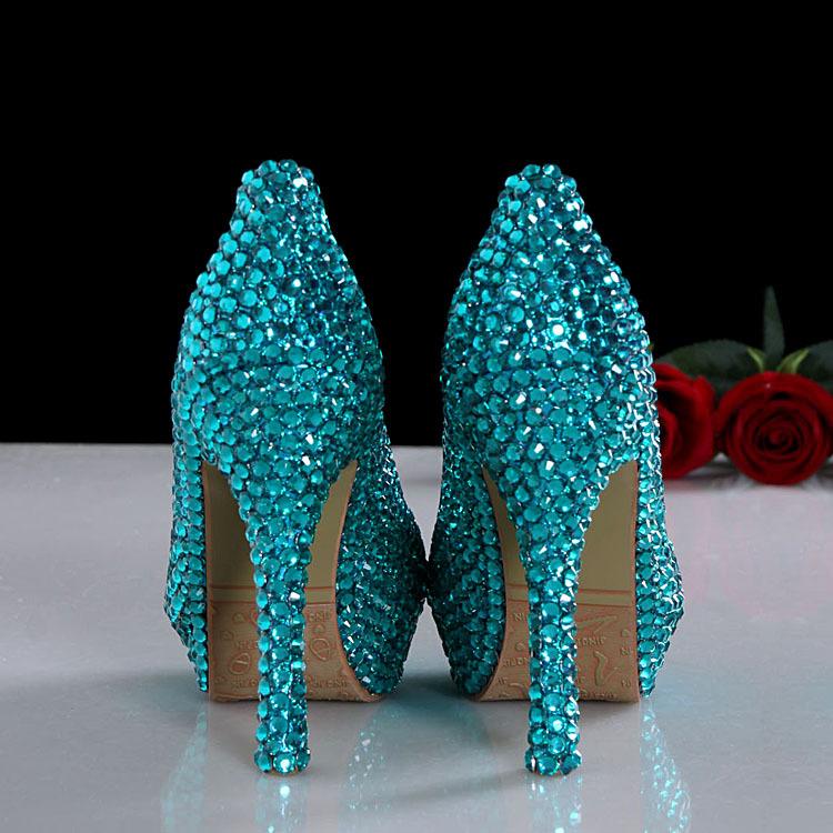 women wedding  shoes wedding high heels bling bling wedding shoes blue dress shoes