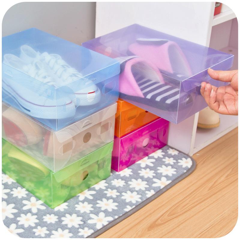 Thick Transparent Colored Plastic Clamshell Shoebox Hot Storage Box Drawer Shoe Boots Box Finishing Box F3944(China (Mainland))