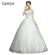 Buy Lamya Cheap Customized Short Lace Sleeve Vintage Wedding Dress Princess Plus Size Bride Gowns Dresses Fashion vestido de noiva for $45.49 in AliExpress store