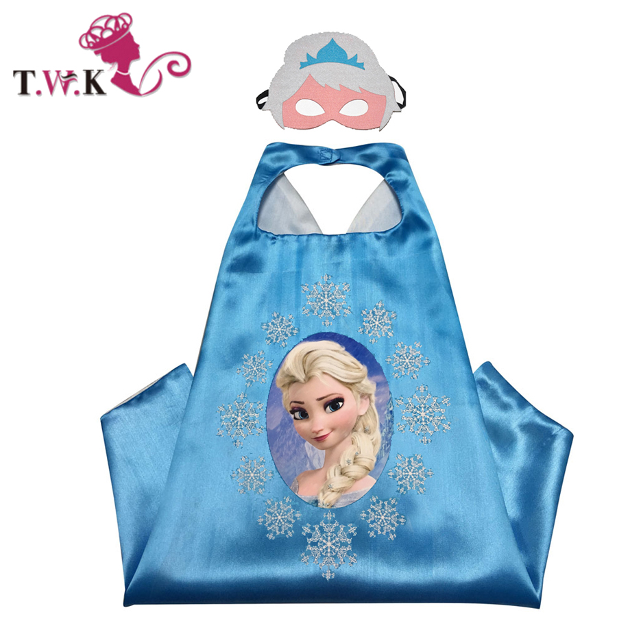 50 pcs / lot anna elsa cap clothes 70cm * 70cm anna elsa child cosplay costume for halloween birthday supplier(China (Mainland))