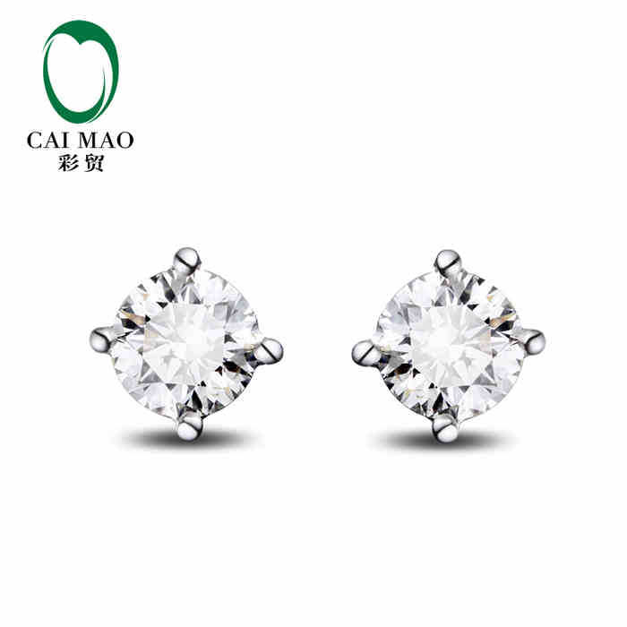 CaiMao 18KT/750 White  Gold 0.50 ct Full Cut Diamond Earrings Jewelry Gemstone<br><br>Aliexpress