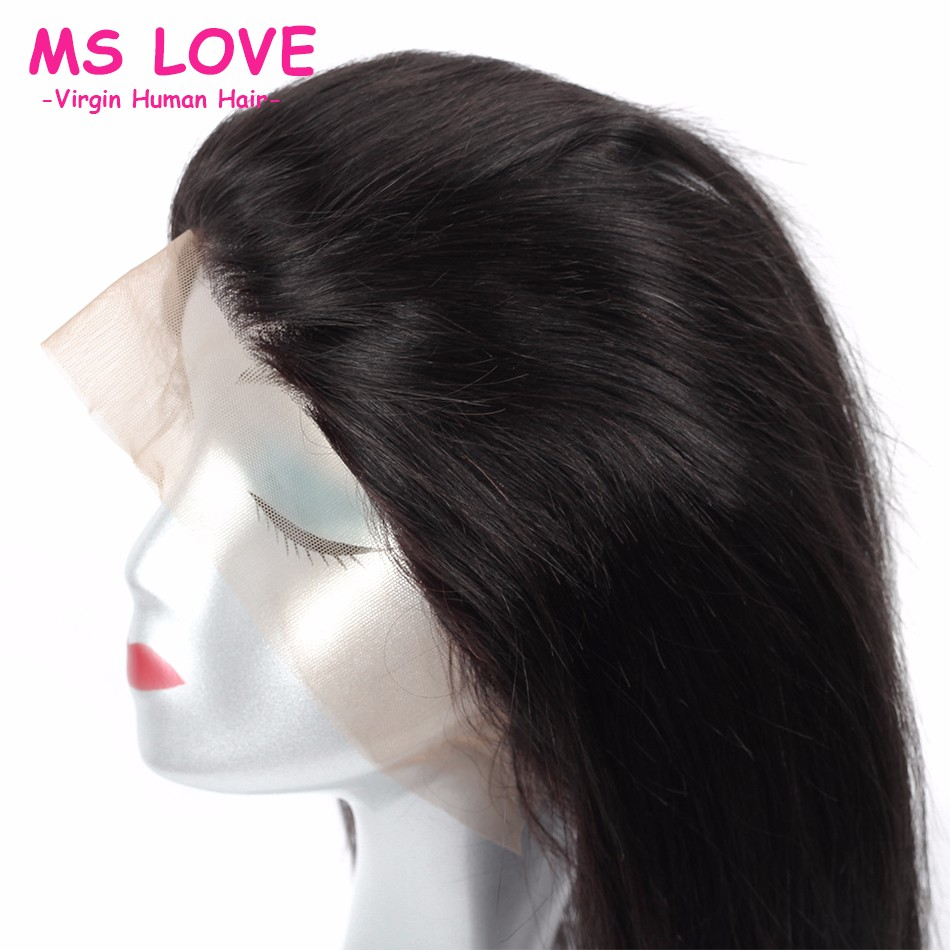 360 Lace Frontal Full Lace Band Frontal Brazilian Virgin Hair Straight Natural Hairline 360 Lace Frontal Closure With Baby Hair