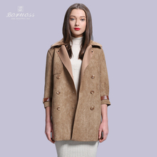 2015 New Spring Women's Windbreaker Faux Leather Loose Coat Double Breasted Three Quarter Trench Mother's Day Gift Boruoss K020(China (Mainland))