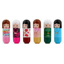 6pcs Lovely Kimono doll Pattern colorful Girl Makeup Lip Balm Lipstick present Newest(China (Mainland))