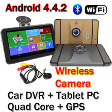 "7"" Wifi Android 4.4.2 Car DVR GPS Navigation Dash cam Tablet PC MTK8127 Quad Core 1.3G Bluetooth 2.4G Wireless Rear Camera 1080P(China (Mainland))"