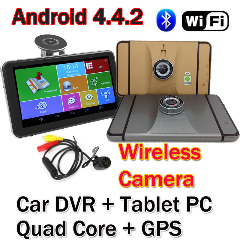 """7"""" Wifi Android 4.4.2 Car DVR GPS Navigation Dash cam Tablet PC MTK8127 Quad Core 1.3G Bluetooth 2.4G Wireless Rear Camera 1080P(China (Mainland))"""